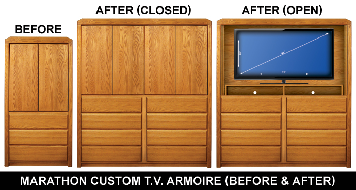 Custom Marathon TV Armoire Before And After