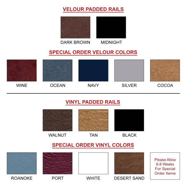 Padded Rails Available Colors