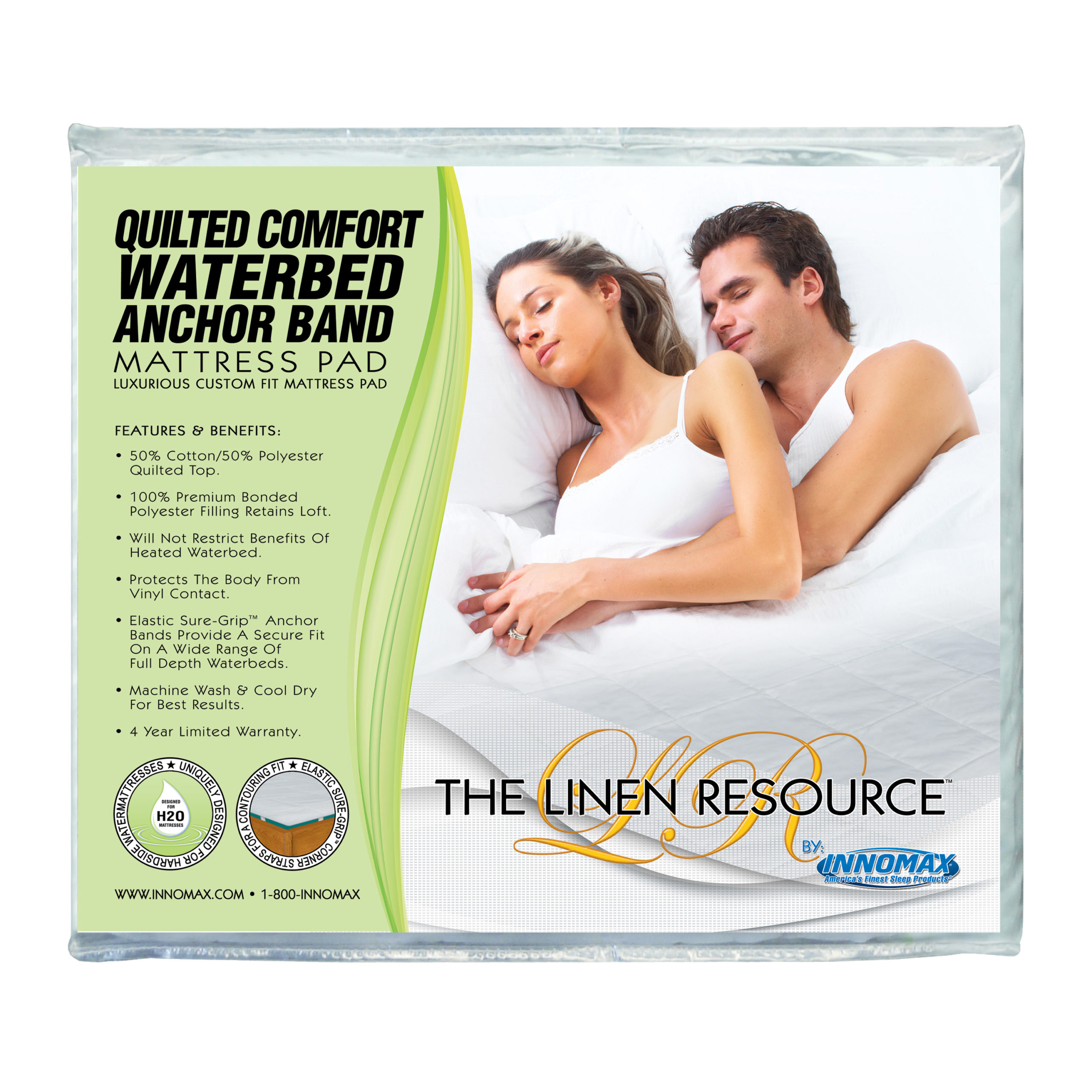 INNOMAX The Linen Resource Quilted Comfort Waterbed Anchor Band Custom Fit Mattress Pad Protective Cover King