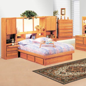 InnoMax Oak Land Coronado Wall Unit In Bedroom Setting