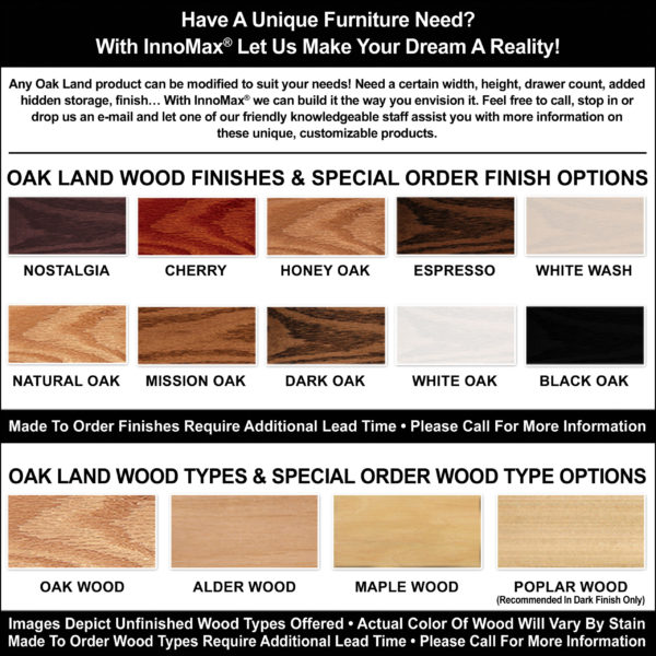 Custom Oak Land Finish Options And Wood Types