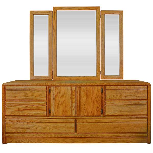 InnoMax Oak Land La Jolla Master Dresser & Tri-View Mirror