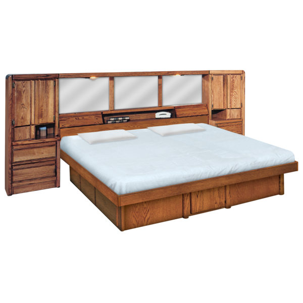 InnoMax Oak Land La Jolla Wall Unit With Platform Bed Bedroom Furniture