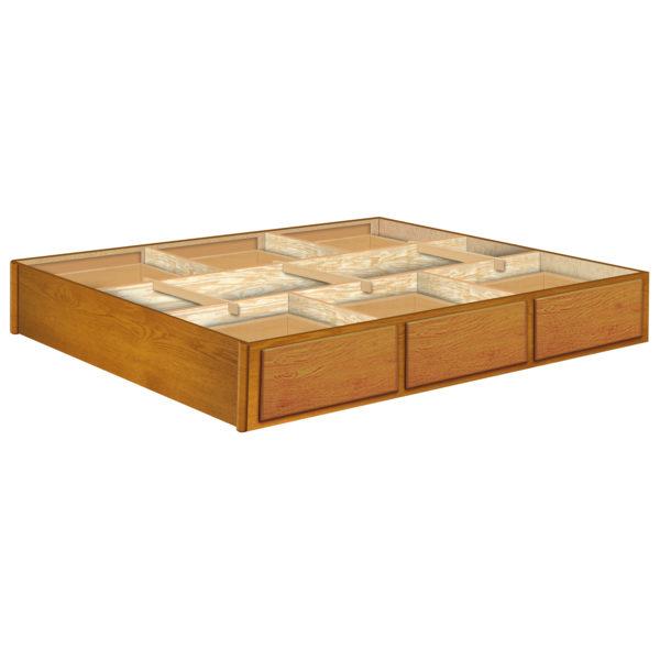 InnoMax Oak Land 12 Inch 6 Drawer Oak Pedestal Bedroom Furniture