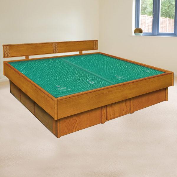 InnoMax Oak Land 5 Board Frame Waterbed In Bedroom Setting