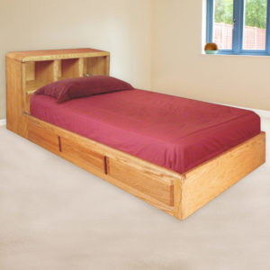 InnoMax Oak Land Bookcase Platform Bed Bedroom Furniture