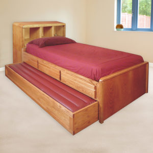 InnoMax Oak Land Trundle Bed With Bookcase Headboard Bedroom Furniture