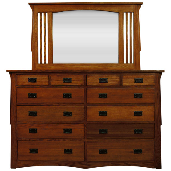 InnoMax Oak Land Mission Creek 12 Drawer Dresser & Landscape Mirror