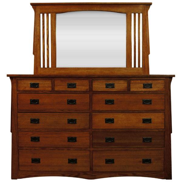 InnoMax Oak Land Mission Creek 12 Drawer Dresser & Landscape Mirror