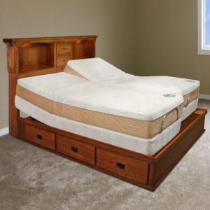 InnoMax Oak Land Mission Creek Power Base Dresser With Bookcase Headboard Bedroom Furniture