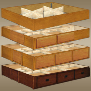 OAK WATERBED PEDESTALS & RISER