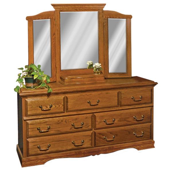 InnoMax Oak Land Venetian 7 Drawer Dresser With Tri-View Mirror Bedroom Furniture
