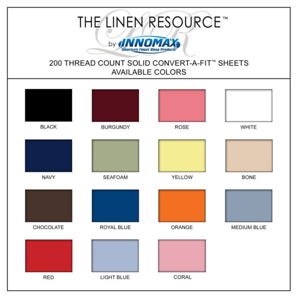 200 Thread Count Solid Sheets Available Colors