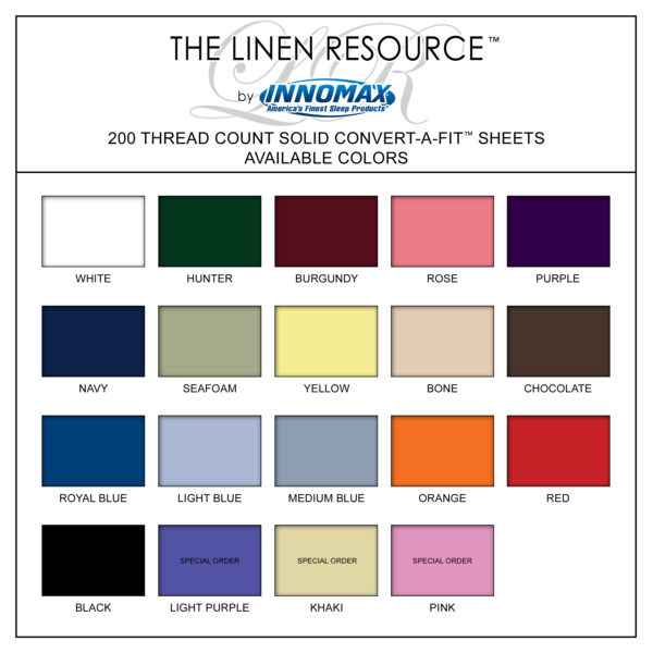 Solid 200 Thread Count Convert-A-Fit Sheets Available Colors