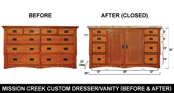 Custom Mission Creek Dresser Before And After
