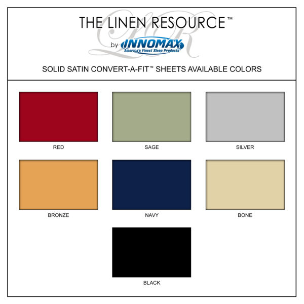 "Solid Satin ""Dura-Soft"" Convert-A-Fit Sheets Available Colors"