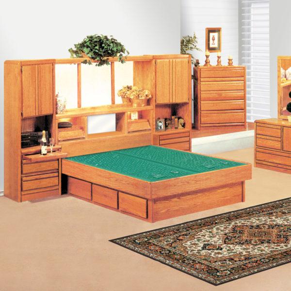 InnoMax Oak Land Coronado Wall Unit Waterbed In Bedroom