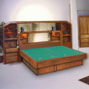 Oak Land Marathon Tall Wall Unit Waterbed In Bedroom