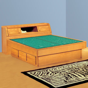 InnoMax Oak Land Matrix Bookcase Headboard Waterbed In Bedroom
