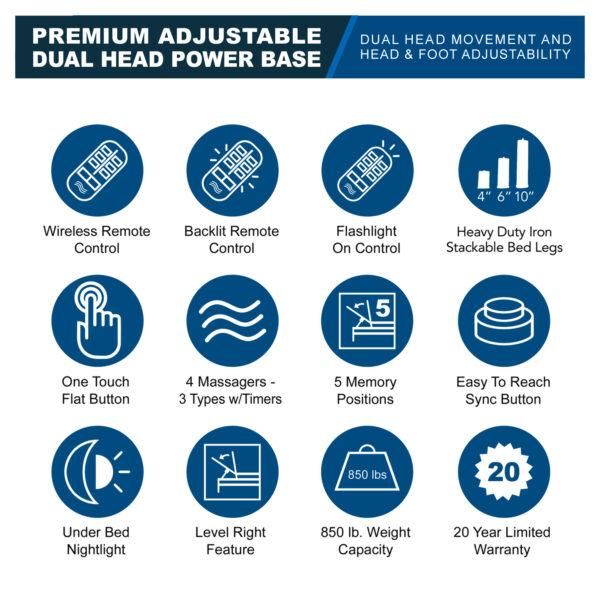 Premium Adjustable - Dual Head Power Base Features