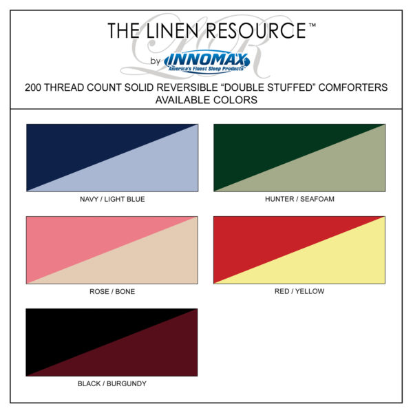 Reversible Comforters Available Colors
