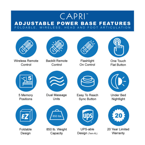 Capri Adjustable Power Base Features